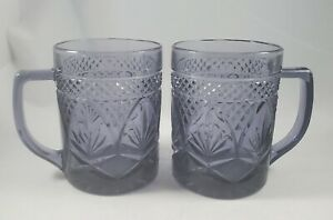 Pair of Cristal D'Arques Durand VTG Purple Amethyst Coffee Mugs Tea Cups France