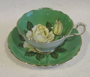 PARAGON [ Green with White Cabbage Rose Tea Cup & Saucer ] NICE