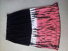 Black/white/orange-salmon long skirt by Autograph, size 18