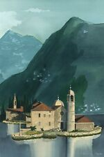 Beautiful watercolor print of the monastery at Kotor, Montenegro