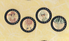 Graphic45 A LADIES' DIARY #109 (4) Black Flat Bottle Cap Accents HANDMADE