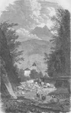 La Francia. trattato di Torino. GOLA DELL'ALPINI, Savoia, antica stampa, 1860