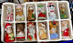 Vintage Jasco Christmas Critter Bells Set of 12 Animals Bisque Porcelain