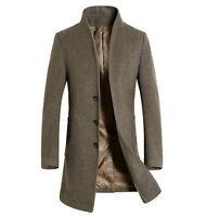Winter Men's Warm Wool Blend Trench Coat Slim Fit Peacoat Long Jacket Formal