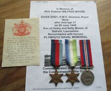 WW2 NAVY CASUALTY GROUP / W MOORE /  HMS GLORIOUS / WILFREDS WILL / SALFORD