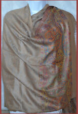 All over floral design Pashmina Silk blend Shawl, Stole, Wrap beige from India!!