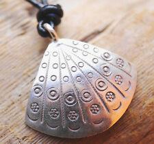Silber Anhänger Muschel 2,8 x 3 cm Amulett Verspielt Ethno Glanz Kreis Punkte