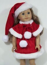 "3pc Red Santa Dress Cape Hat Faux Fur Doll Clothes For 18"" American Girl (Debs)"