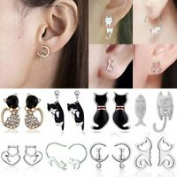 Fashion Silver Stainless Steel Crystal Pearl Cat Ear Stud Women Earrings Jewelry