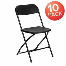 Flash Furniture 10 Pk. HERCULES Series 800 lb. Capacity Premium Black Plastic