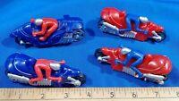 LOT 4 Ja-Ru Plastic Toy Mini Motorcycle Racer Figure Hotrod Drag Red Blue VTG