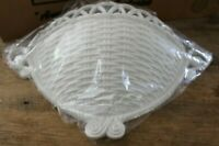 Vintage Home Interiors Homco Large White Plastic Wicker Wall Basket Planter