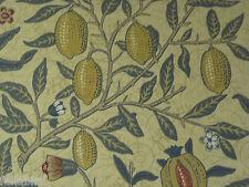 """WILLIAM MORRIS CURTAIN FABRIC DESIGN """"Fruit Major"""" 3.55 METRES MUSTARD & BLUE"""