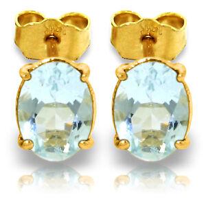 1.8 Carat 14K Solid Gold Stud Earrings Natural Aquamarine