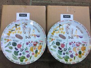 NEXT Porcelain set of 2  Portion Control Plate Veggie Vegan healthy eating NEW
