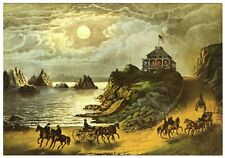 SAN FRANCISCO 1ST CLIFF HOUSE (1858-1864) CURRIER & IVES LITHO~NEW 1973 POSTCARD