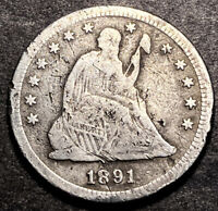 1891 S Seated Liberty Silver Quarter 25c Nice Details Obsolete Us Type Coin