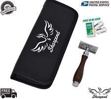 Dark Wood Men Safety Razor Double Edge Razors 10 Free Blades & Pouch travel kit