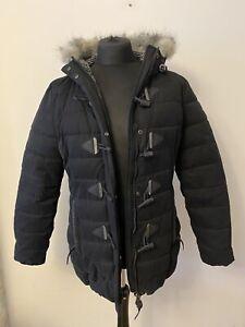 Women's Superdry Toggle Udder Hooded Black Fleece Lined Jacket size XL