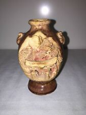 Vintage Japanese Banko Ware Pottery Vase Hand Carved Temple Scene Japan