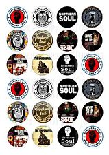 24 NORTHERN SOUL BIRTHDAY CUPCAKE TOPPER WAFER RICE EDIBLE FAIRY CAKE  TOPPERS