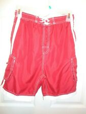 Castaways Swim Board Shorts Red w/white stripe/mesh lining Size Xl (18)