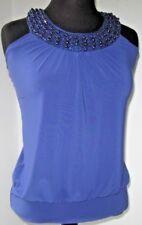 Dot's Women's Blouse Top Halter Beaded Strapless Blue size Medium Excellent
