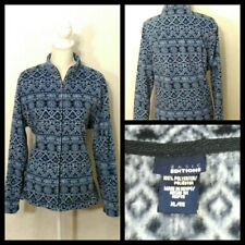 Basic Editions Womens Fleece Sweater Size Small Black Blue Snowflake Zip Up