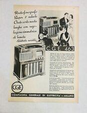 Pubblicità vintage 1938 RADIO CGE 463 old advertising publicitè reklame werbung