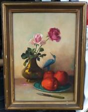 Oil Painting Fruit Still Life Flowers Floral Rose Pink Roses Art Peach Renninger