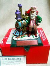 Vintage Cast Iron Christmas Stocking Holder / Santa & Train