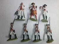Konvolut 7 alte Elastolin Kunststoff Soldaten zu 7.5cm Österreicher mit General