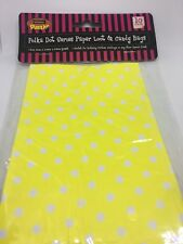 Yellow Polka Dot Paper Bags 10 Loot And Candy Bags 18cm X 10.5cm X 5.5 Party Bag