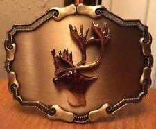 Caribou Burnished Brass Belt Buckle~Deer~Elk~Hunting~Big Game~Nice Eye Appeal