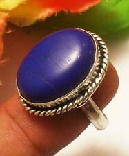 Blue Agate Gemstone Adjustable Ring 925 Sterling Silver Plated U229-A112