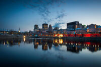 Old Montreal Skyline at Blue Hour Quebec Canada Photo Art Print Poster 18x12