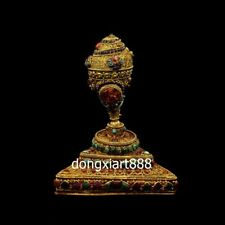 Tibet silver 24K gold gemstone coral turquoise Mahakala conch sea snail Charonia