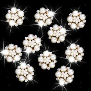 10 Pearl Flower Rhinestone Buttons Embellishments Craft DIY Accessory 25mm