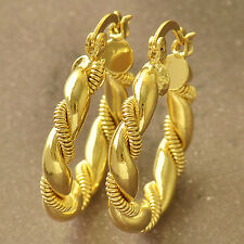 fashion jewelry twisted 9K Yellow Gold Filled Womens Hoop Earrings, F5561
