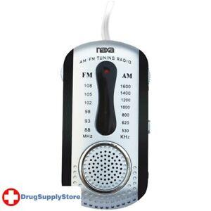 PE AM/FM Mini Pocket Radio with Speaker (Black)