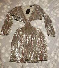 Silver Sequin Cut Out Miss Pap Dress Size 12 NEW