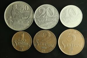 LATVIA Lettland Lettonia FULL SET 1922 -1939 coins 1,2,5,10,20,50 Santimi M904