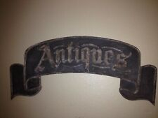 """Metal """"Antiques"""" Sign Vintage Farmhouse Style Embossed Distressed - LARGE SIGN"""