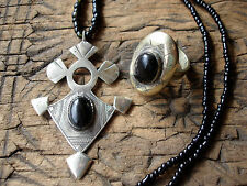 Black agate  Niger Tuareg ring and necklace pendant with beads jewellery set
