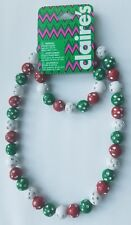 Girls Christmas Holiday Stretch Necklace & Bracelet set bead red green party