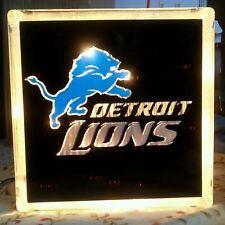Lighted Detroit Lions Glass Block Light~ Home Decor~Gift~Lamp