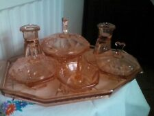 PINK GLASS COMPLETE dressing table set