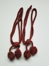 Pair of Large Tassel Drapery Custom Tie Backs in Red