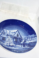 Signed  Christmas 1981 Noel Blue White Collector Plate Canada Roger Witmer 4618
