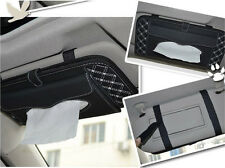 Car Interior Sun Visor Leather Tissue Box Napkin Cover DVD CD Folder Black-White